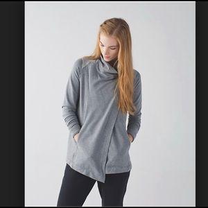 Lululemon Coast Wrap Jacket Sweater Heathered Gray